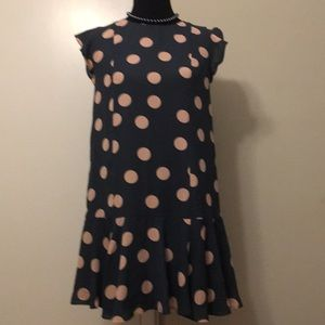 Loft pink poka dot dress size small
